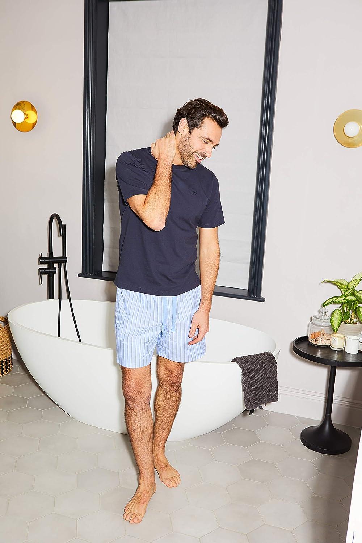 L Pantaloni da pigiama da uomo Savile Row in jersey di cotone blu navy//a righe