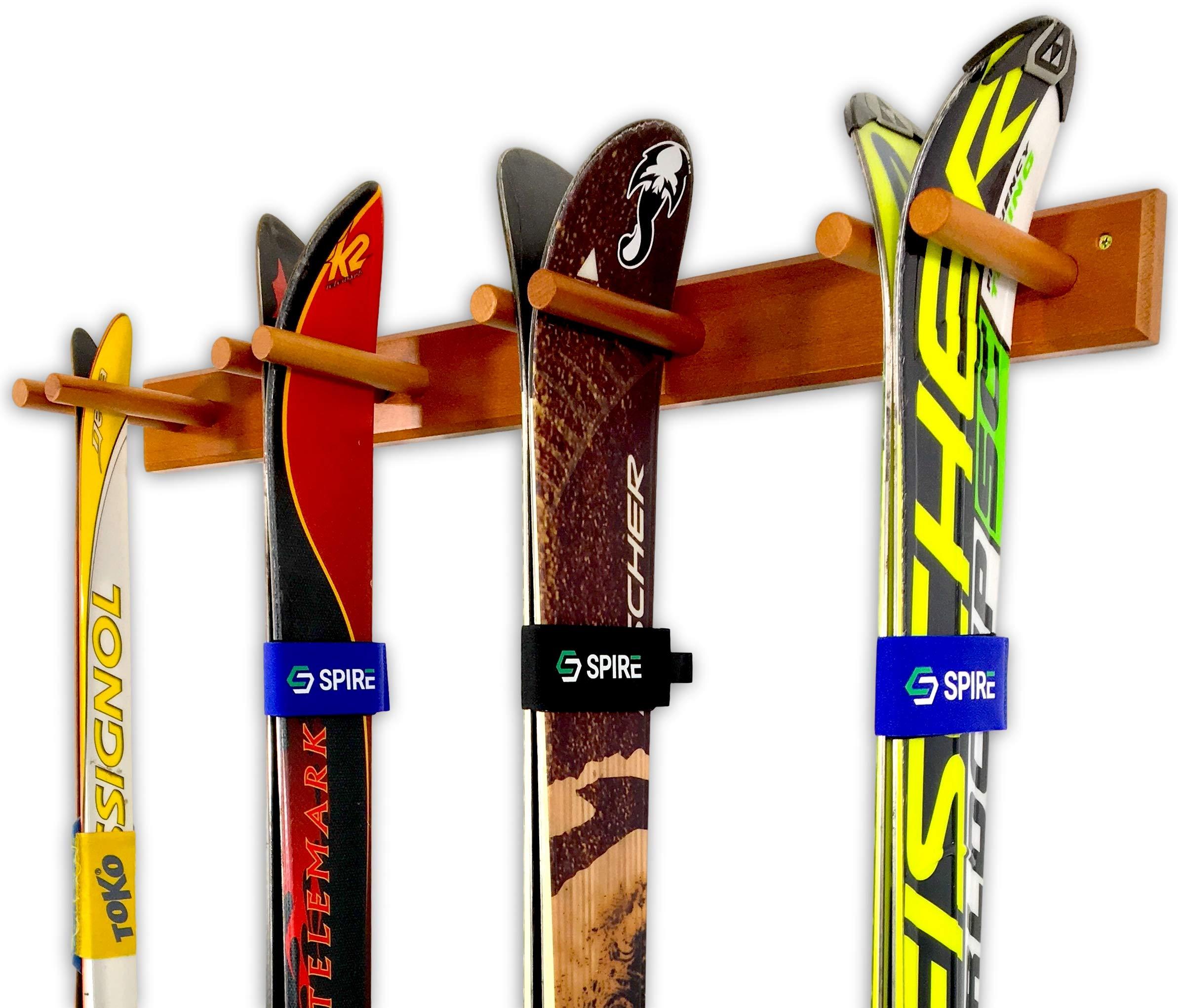 Timber Ski Wall Rack - 4 Pairs of Skis Storage - Wood Home & Garage Mount System (Cherry)