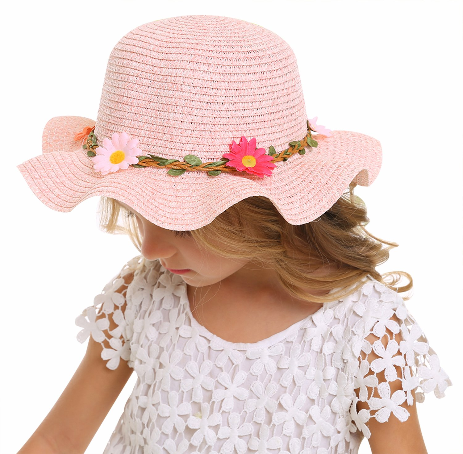 Bienvenu Sun Straw Hat Kids Girls Large Wide Brim Travel Beach Beanie Cap,Pink