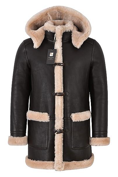 Abrigo de Lona de Piel de Oveja de Cuero para Hombres Marrón Piel Beige Capucha 100% Shearling Ivar: Amazon.es: Ropa y accesorios