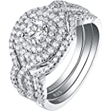 Newshe Wedding Rings for Women Engagement Ring Set 925 Sterling Silver 3pcs 2Ct White Cz Size 5-10