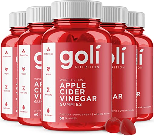 """Goli Nutrition Inc. World's First Apple Cider Vinegar Gummy Vitamins (60 Count, Organic, Vegan, Gluten-Free, Non-GMO, with""""The Mother"""", Vitamin B9, B12, Beetroot, Pomegranate) Pack of 5"""