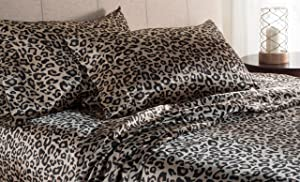 Elite Home Products 100% Luxury Satin Polyester Solid Sheet Set, Queen, Leopard