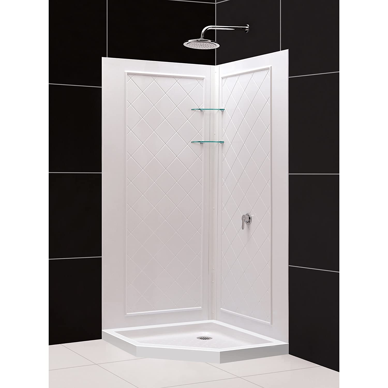 32 corner shower kit. DreamLine SlimLine 42  By Neo Shower Receptor And QWALL 4 Backwall Kit DL 6185 01 Wall Surrounds Amazon Com