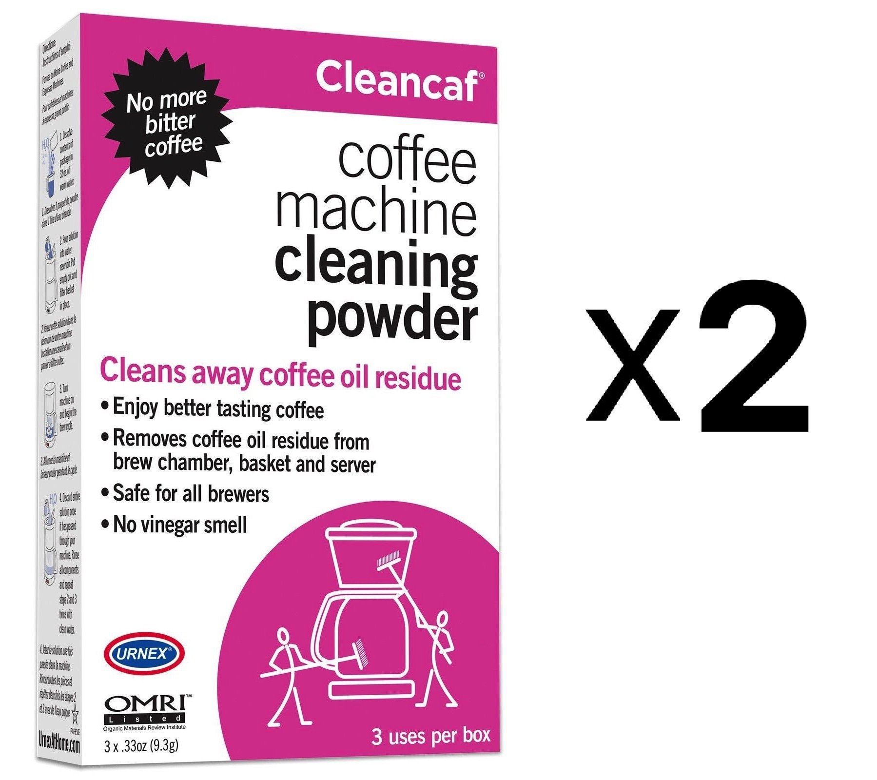 Urnex Cleancaf Non Toxic Biodegradable Coffee Machine Cleaner Descale (2-Pack)
