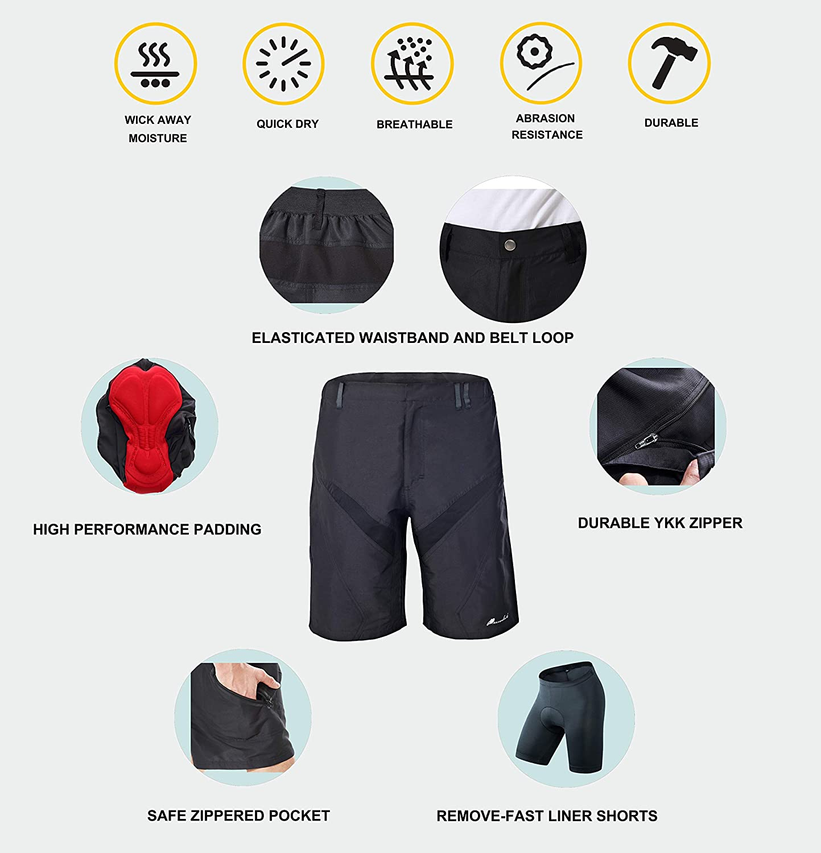 a62a2f128 Przewalski Men s Plus Size MTB Mountain Bike Cycling Shorts w  Padded  Underwear