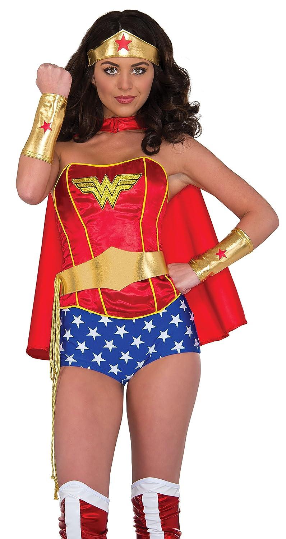 Rubies Costume Womens DC Comics Wonder Woman Accessory Kit Tiara Belt with Lasso Gauntlets