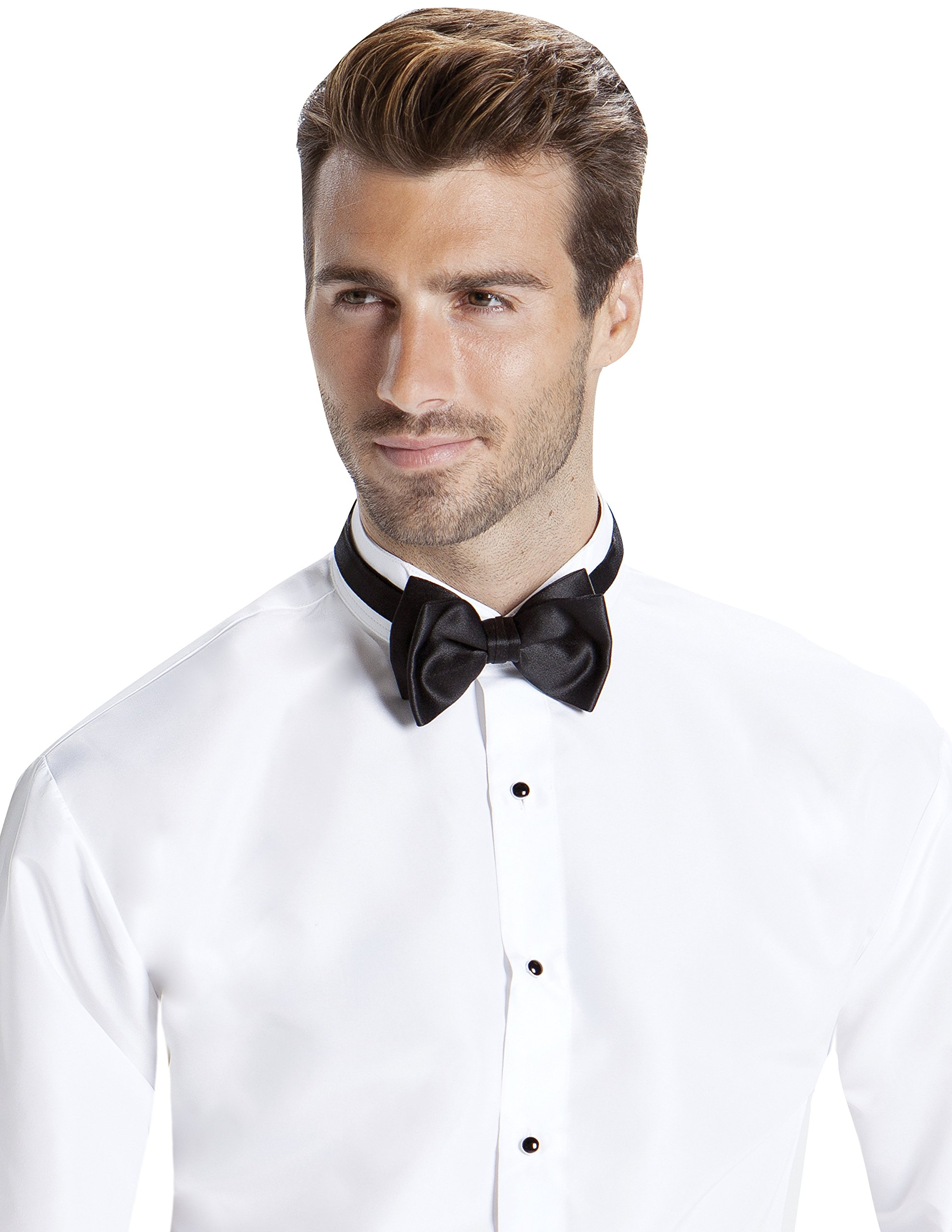 Men's Fitted Wing Collar Convertible Cuff Luxe Microfiber Tuxedo Shirt