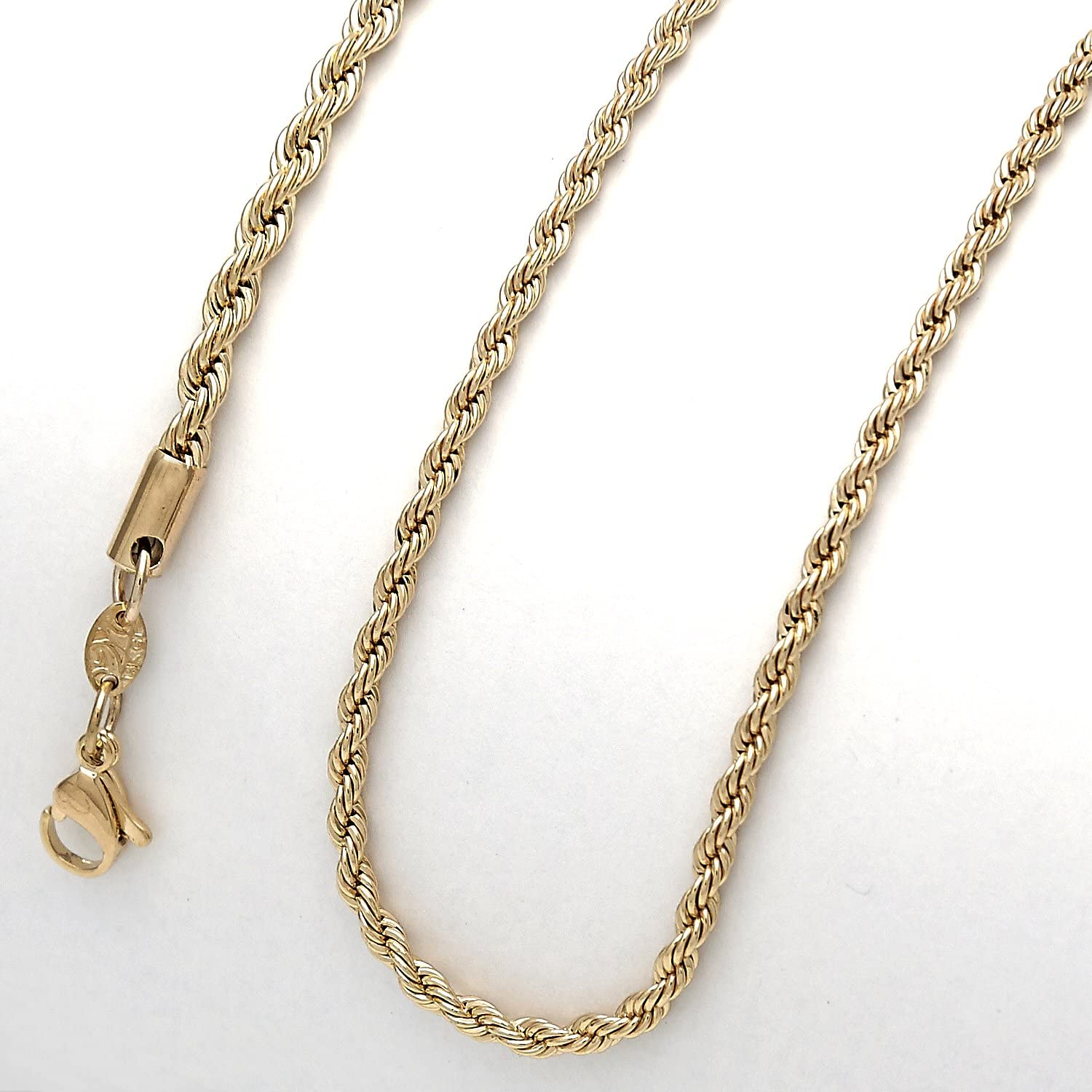 Rope Chain Necklace 3mm for Men and Women 14KT Gold Clad OR or Sterling Silver Clad Honest Prices and Quality 22.00, Gold-Plated-Base Tarnish Resistant