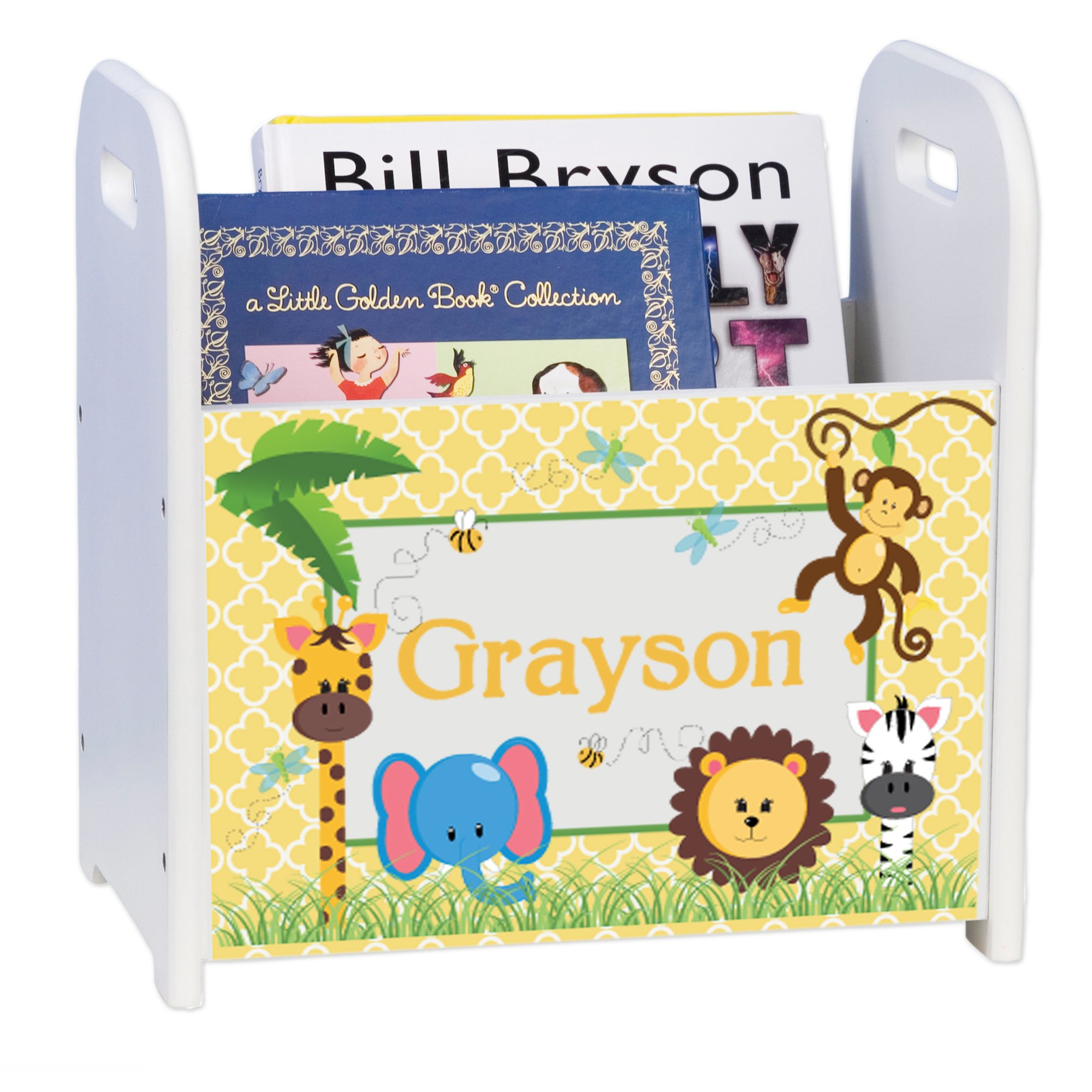 Personalized Jungle Babies White Book Caddy and Rack