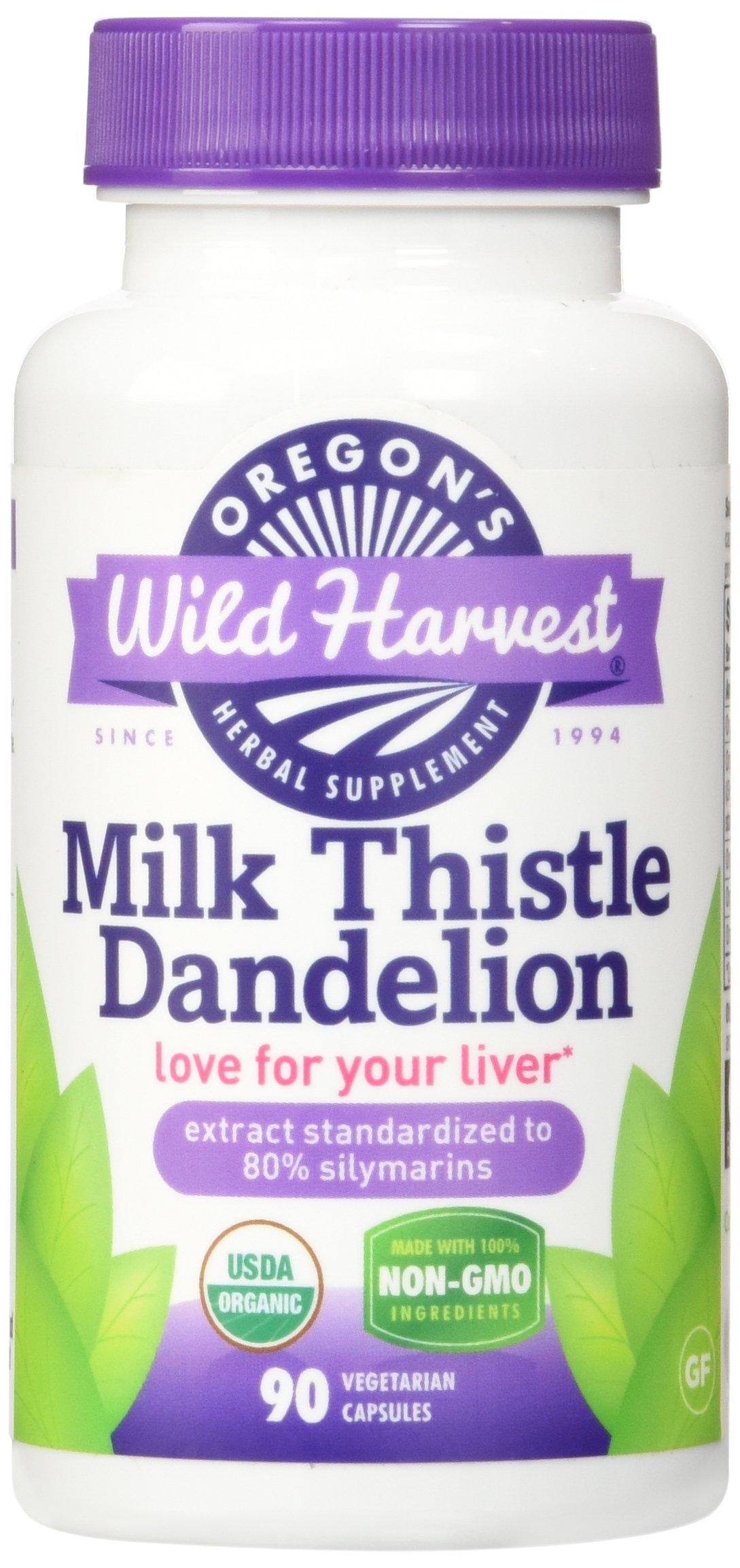 Oregon's Wild Harvest Milk Thistle Dandelion Supplement, 90 Count vegetarian capsules