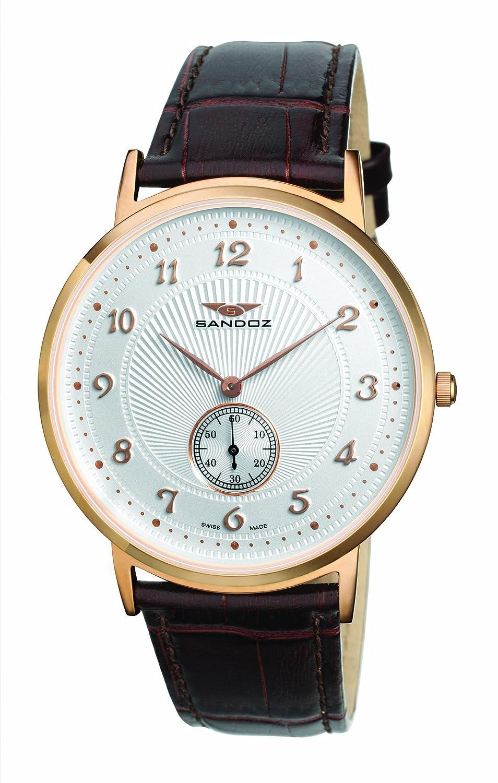 Sandoz 81271-60 - Reloj de caballero de cuarzo, correa de piel color marrón: Amazon.es: Relojes