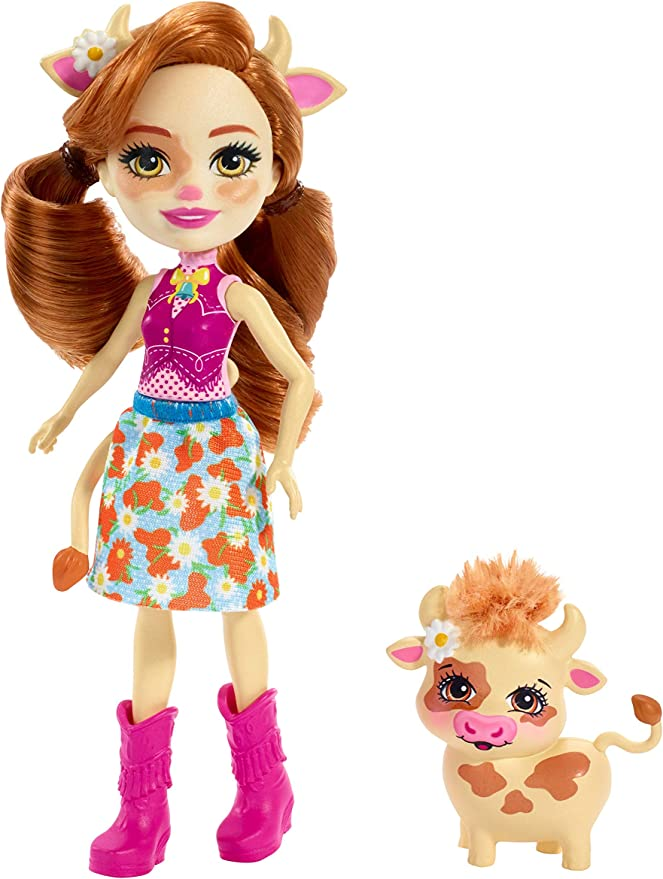 Enchantimals FXM77 Cailey Cow Doll (6 Inch), and Curdle Animal Friend Figure, Multicolour,Mattel,FXM77