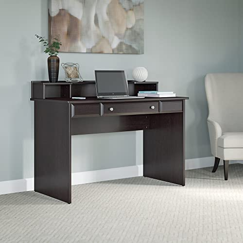 Bush Furniture Cabot Writing Desk with Desktop Organizer in Espresso Oak