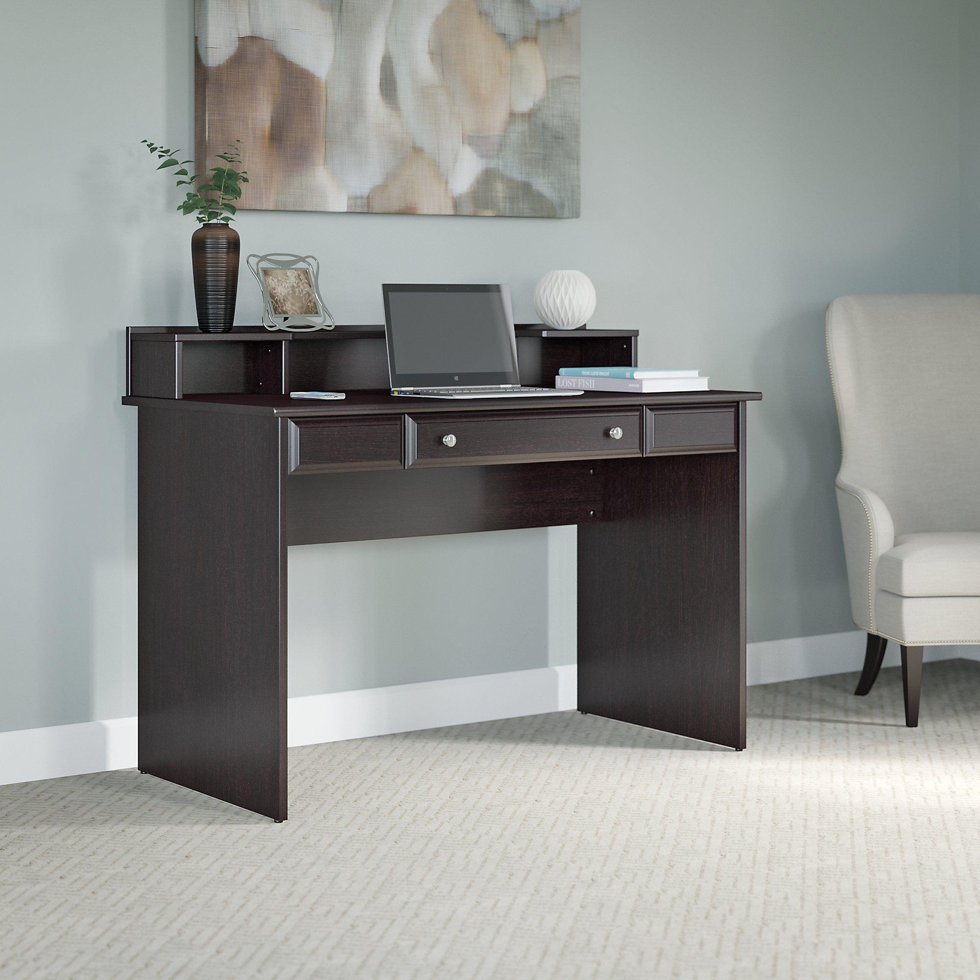 Bush Furniture Cabot Writing Desk with Desktop Organizer in Espresso Oak