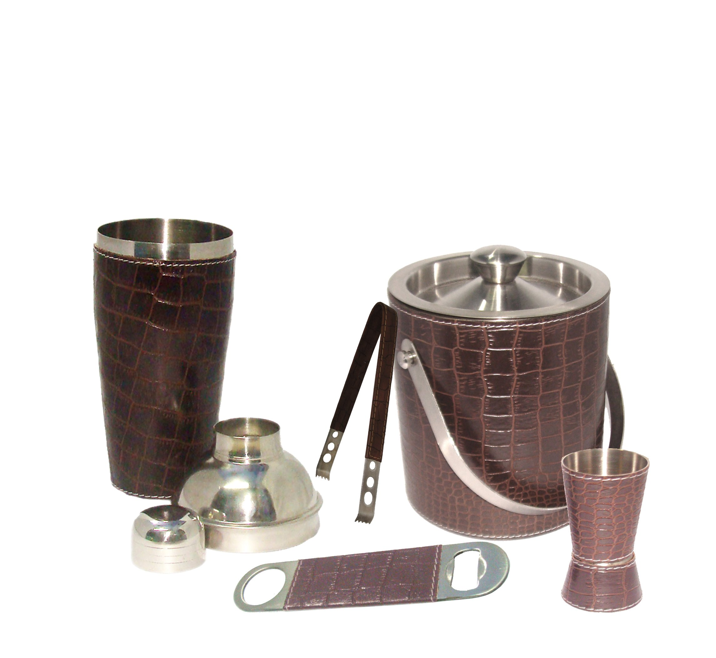 King International 100% Stainless Steel Premium Leather Bar Set | Bar Tools | Bar Accessories | Combo of 5 Pieces | Ice Bucket 1750 ml | Jigger 4.4 cm 3060 ml | Ice Tong 16.5 cm and Opener 14 cm