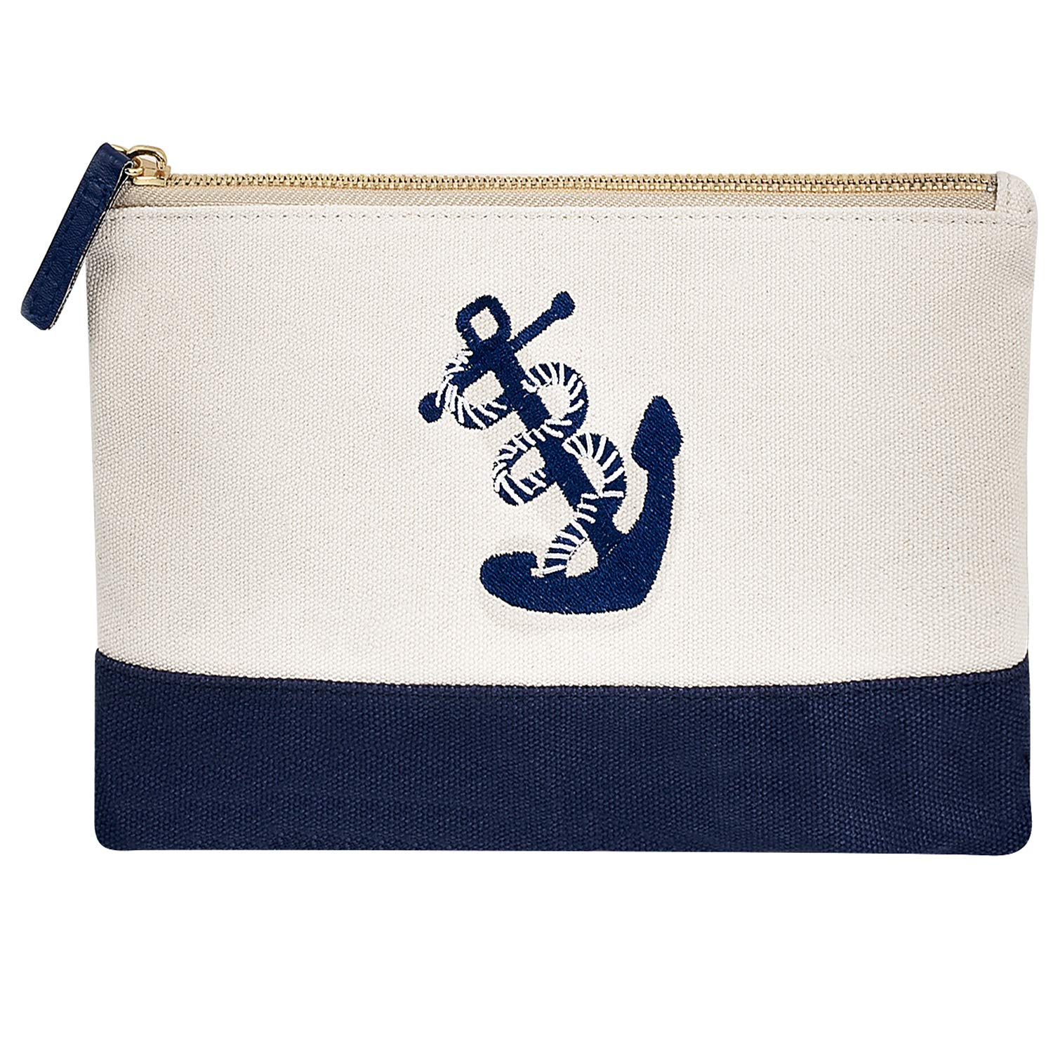 Embroidery Anchor Cosmetic Makeup Bag Canvas Pouch with Zipper Casual Wallet Coin Purse Handle Case Clutch 10.6 9 – L