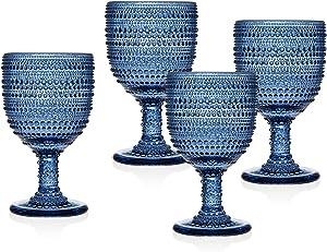 Godinger Wine Glasses Goblets, Beverage Glass Cups - Lumina Blue, Set of 4