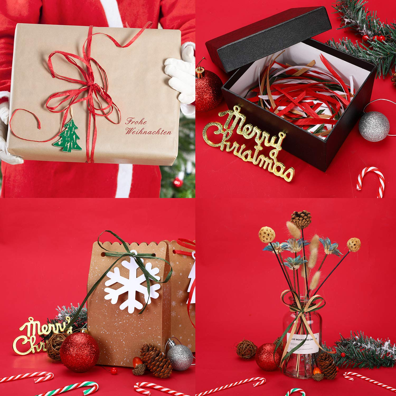 4 Colors 4 Rolls Christmas Raffia Ribbon 1200 Feet Raffia Paper Ribbon Christmas Gift Packing Ribbon for Gift Wrapping 300 Feet Each Roll Holiday Decoration DIY Craft
