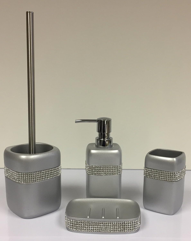 Silver Diamante Bathroom Set - Soap Dish - Toothbrush Holder - Soap ...