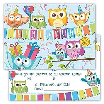 12 Lustige Einladungskarten Set Kindergeburtstag Eule Party Kinder Top  Geburtstagseinladungen Eulen Luftballons Uhu Witzig Einladung Geburtstag