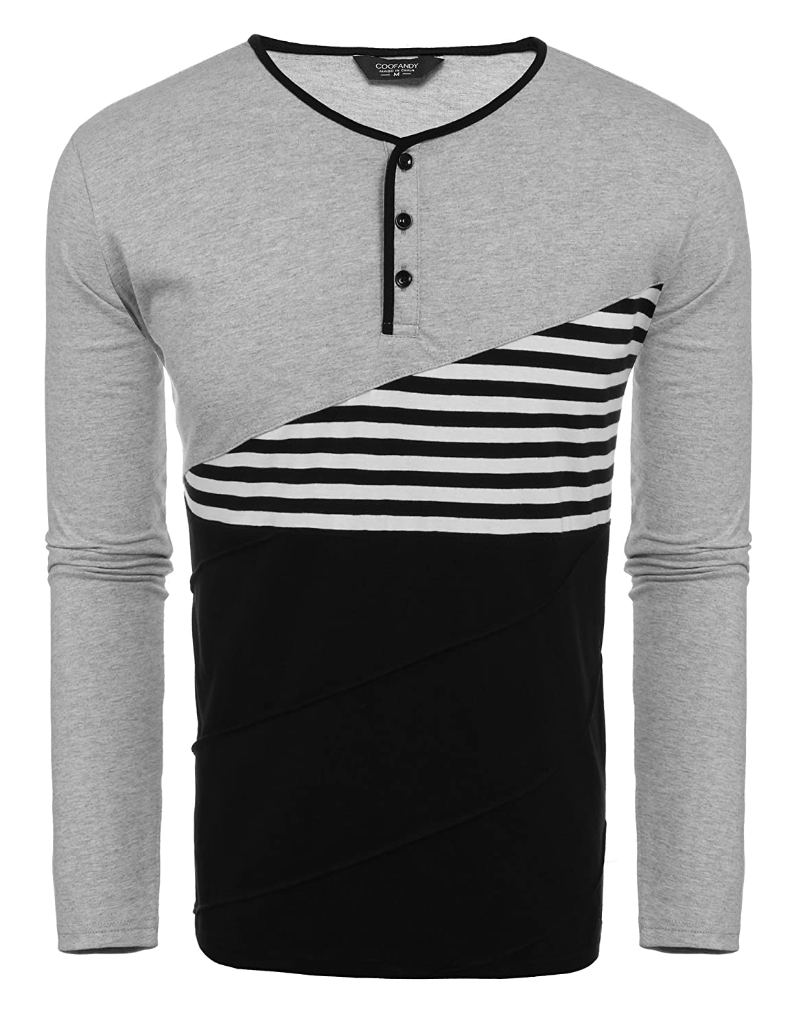 COOFANDY Mens Slim Fit Casual Raglan Baseball Long Sleeve Henley T-Shirts