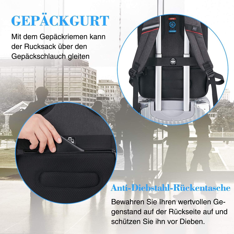 38 bis 41cm Business Wasserdicht Schule Reisen Anti Diebstahl Rucksack f/ür 15,6 Zoll Laptop Laptop Rucksack Herren Schwarz
