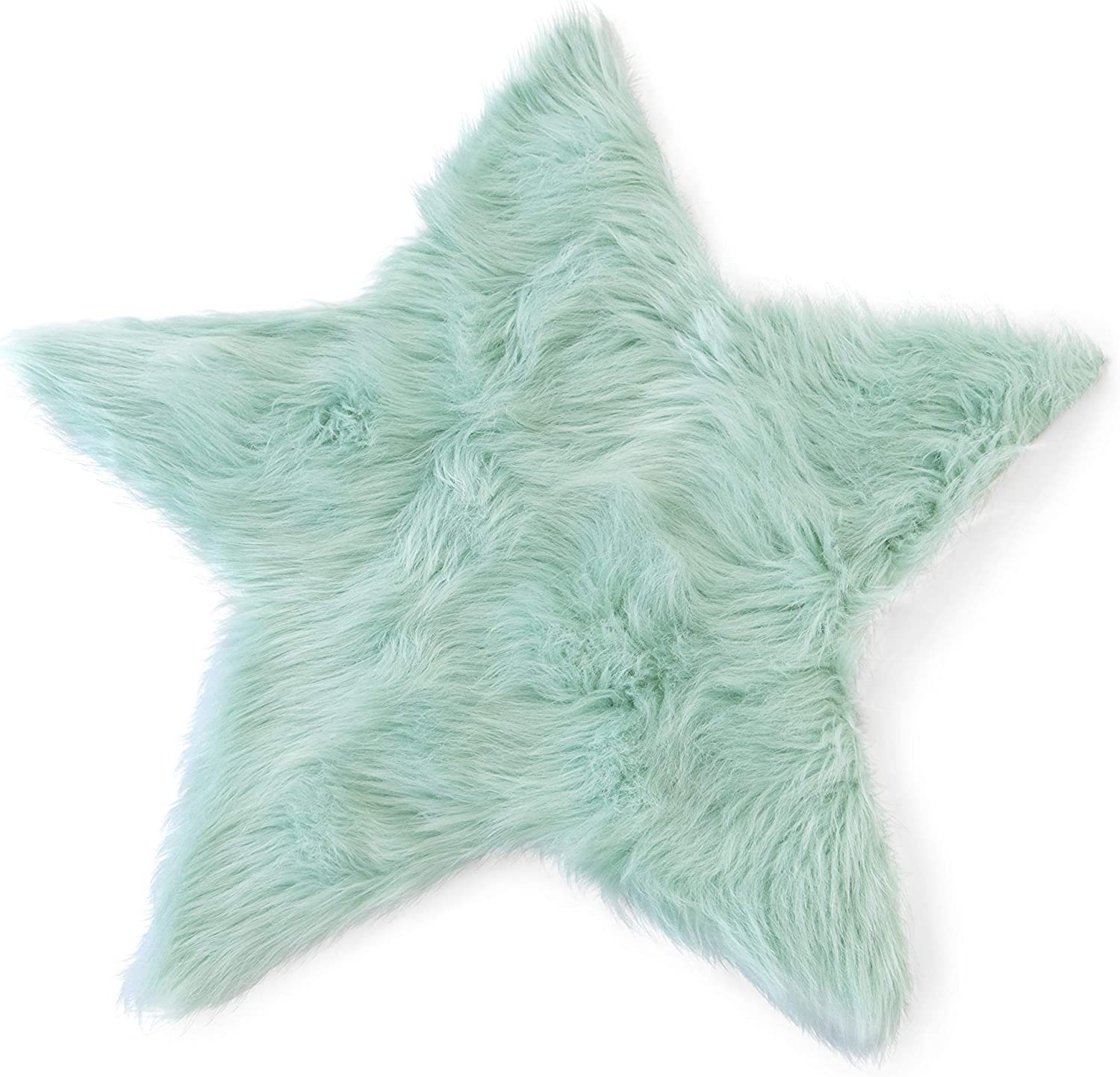 Machine Washable Faux Sheepskin Mint Star Rug 2' x 2' - Soft and Silky - Perfect for Baby's Room, Nursery, playroom (Star Small Mint)