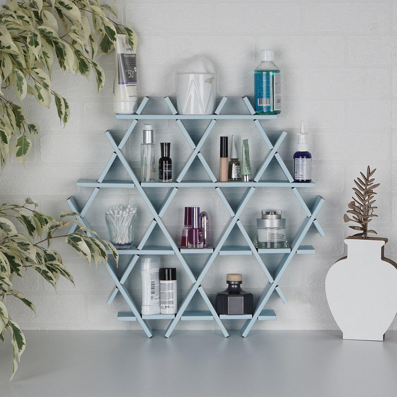 LaModaHome Cardboard Shelf 100% Corrugated Cardboard (20.5'' x 18.9'' x 2.8'') Blue Hexagon Triangle Bedroom Design Decorative Storage Shelf Multi Purpose