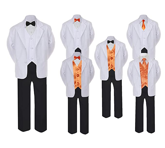Amazon.com: unotux 5 – 7pc Formal Negro Blanco traje de lazo ...