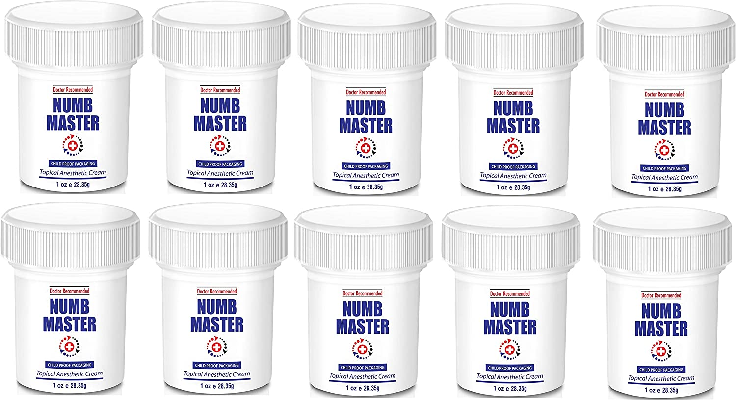 Numb Master 5% Lidocaine Topical Numbing Cream with Aloe, Vitamin E, 1 Oz Maximum Strength Topical Anesthetic Cream Pain Relief Cream with Child Resistant Cap, 10-Pack