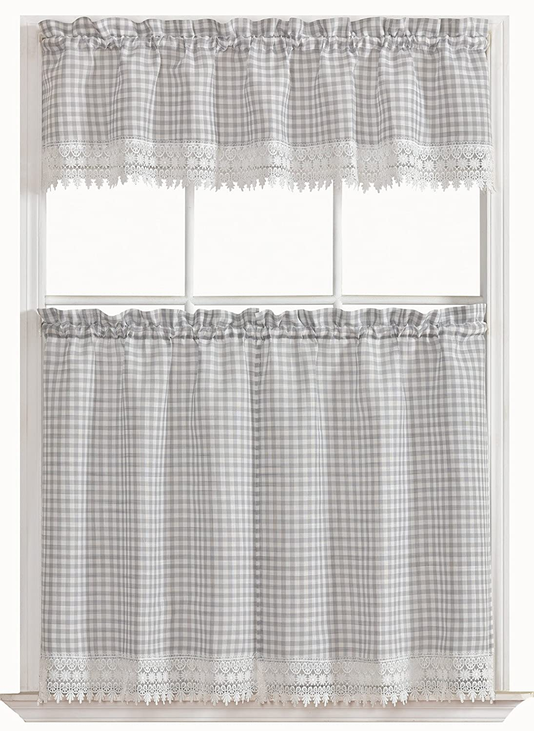 GoodGram Country Chic Plaid & Macrame Kitchen Curtain Tier & Valance Set - Assorted Colors (Gray)