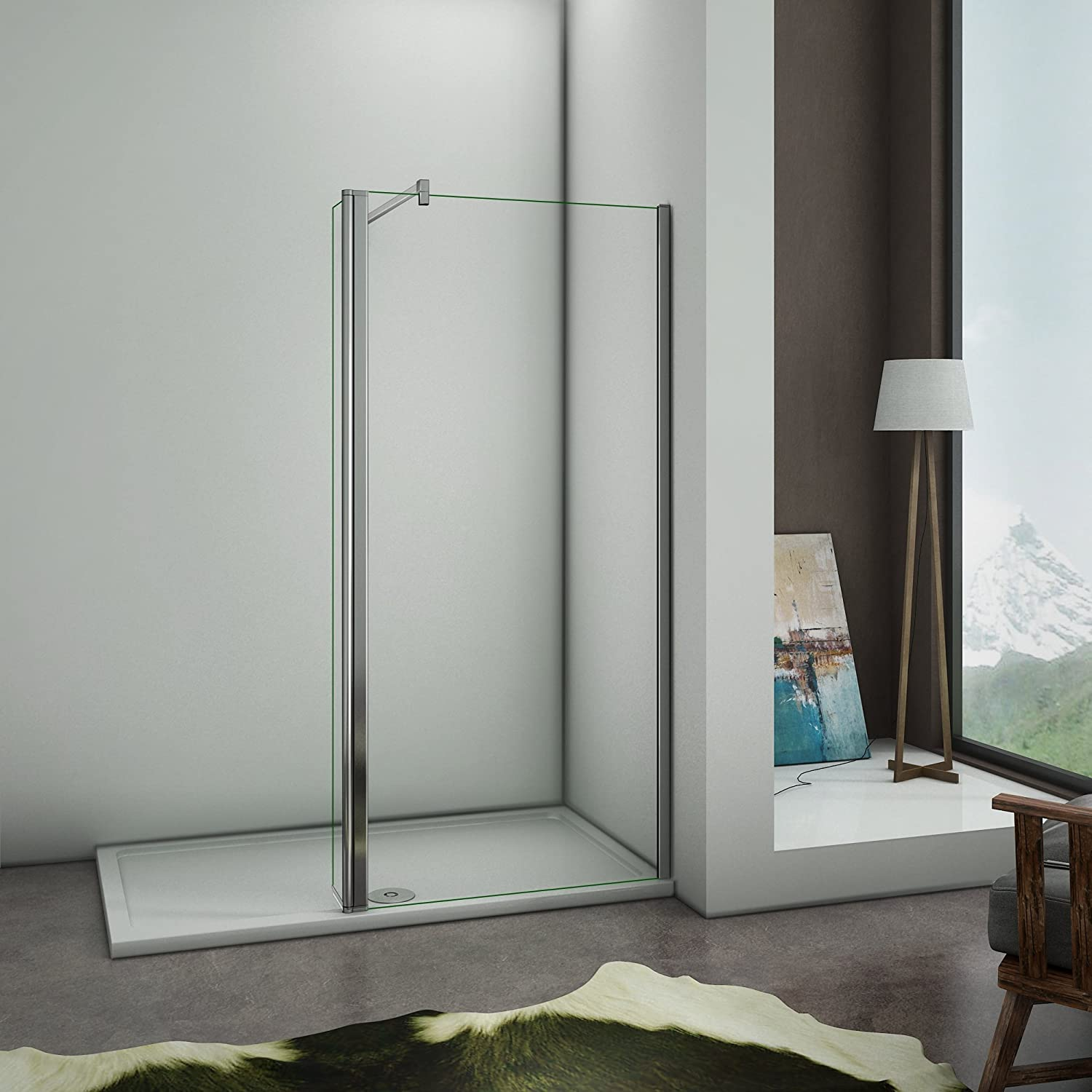 1000mm+300mm panel Perfect 900mm Walkin Wetroom Shower Screen Panel 8mm Easy Clean Glass Shower Enclosure with Support Bar