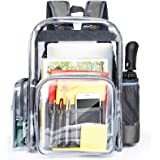 Clear Backpack, Packism Large Clear Heavy Duty Backpack with Reinforced Straps, Waterproof Oxford Fabric Bottom Clear…