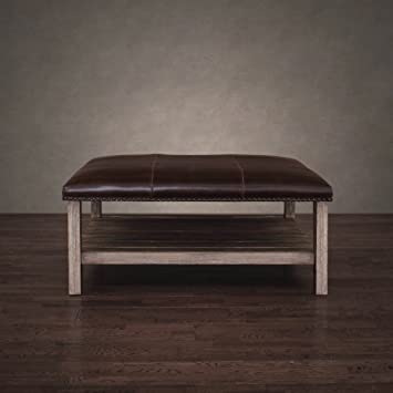 Charmant Antonio Vintage Tobacco Leather Coffee Table Solid Wood Ottoman