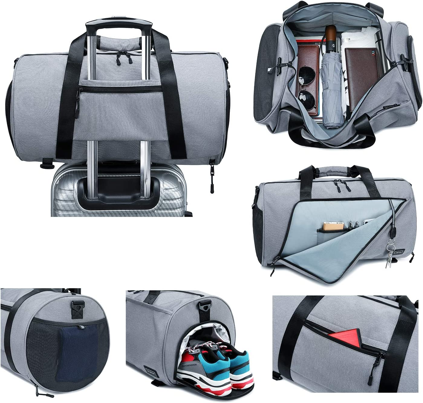 BLUBOON Sports Gym Duffel Bag With Shoe Compartment For Men and Women Oversized Travel Carry-on Luggage Tote Bag with Trolley Sleeve Grey