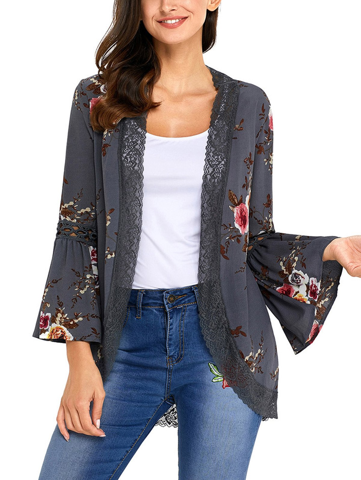 SWQZVT Women's Floral Crochet Long Loose Bell Sleeve Kimono Cardigan Lace Patchwork Casual Cover up Blouse Top Gray XL