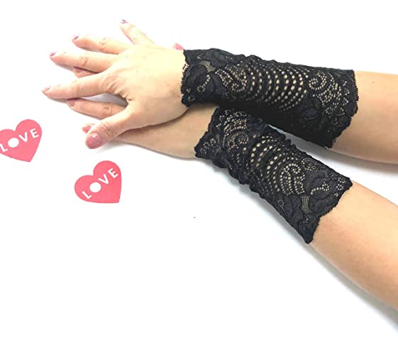 Amazon.com: Lace Gloves Black Lace Bracelets Wrist Cuffs Tattoo ...