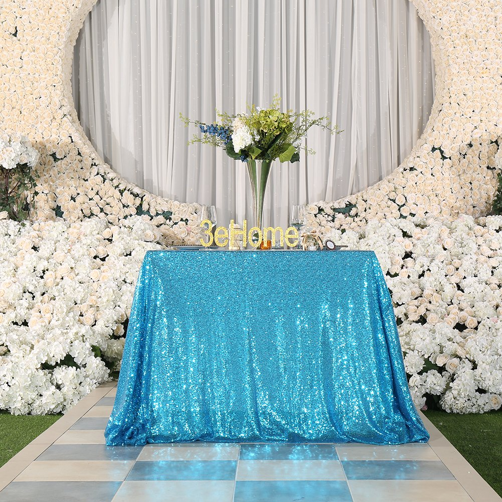 3e Home 50x50 Square Sequin TableCloth for Party Cake Dessert Table Exhibition Events, Turquoise