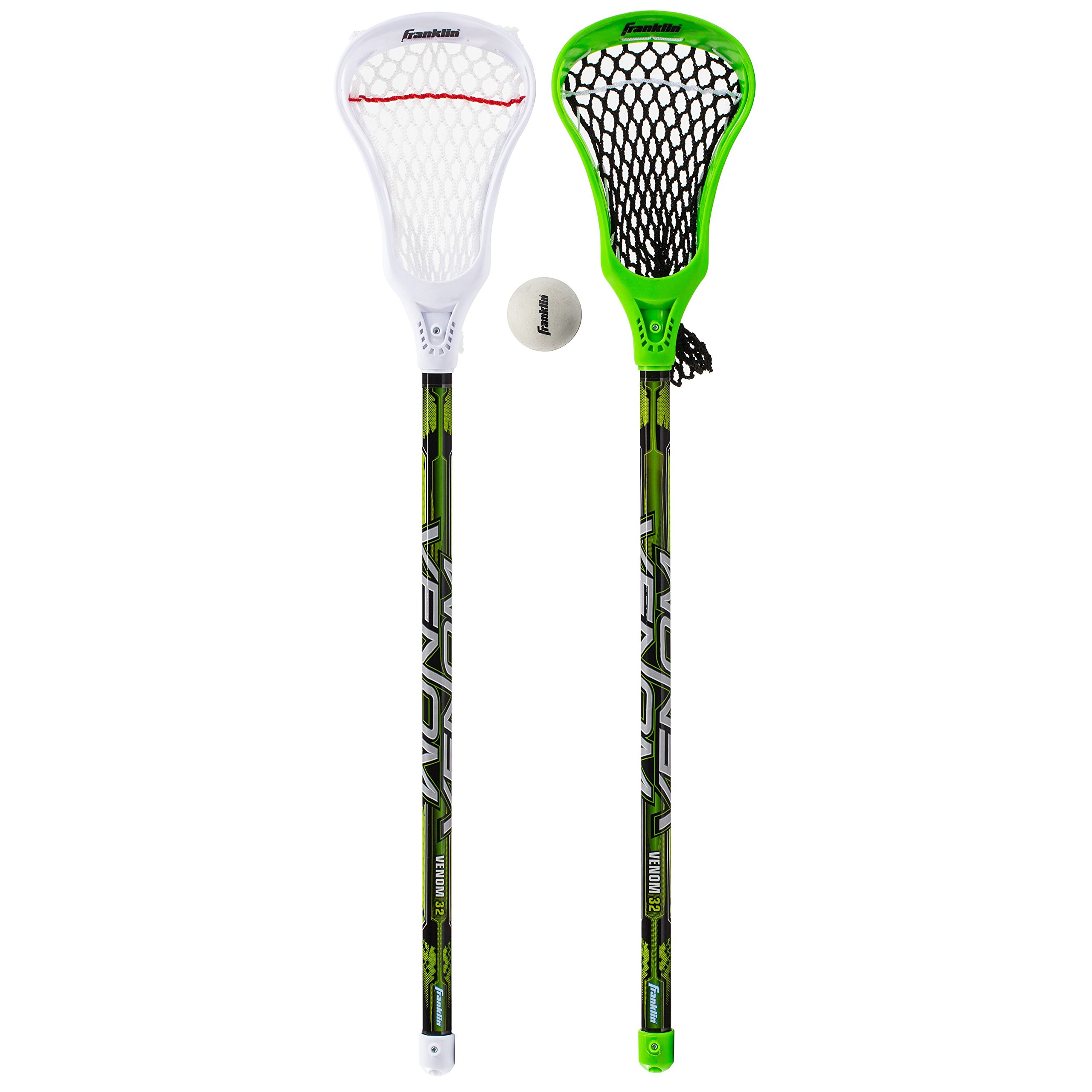 Franklin Sports Lacrosse 2 Stick and 1 Ball Set, Green