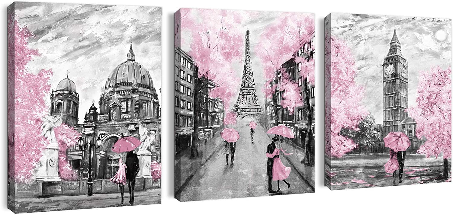 Paris Decor Canvas Wall Art for Living Room Pink Theme Artwork Girl Bedroom Wall Decor Modern London Big Ben Tower Eiffel Tower Pictures Wall Decor Bathroom Framed Wall Decorations Size 12x16x3 Panels
