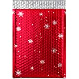 Shiplies Christmas Metallic Bubble Mailers Padded Envelopes with Peel-N-Seal (12 Pack, 8.5'' x 12'')