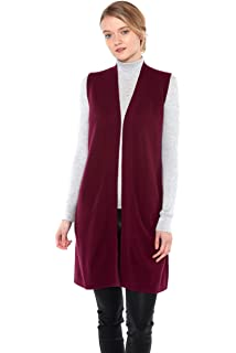 f070c9fb022b4 JENNIE LIU Womens 100% Pure Cashmere Sleeveless Cardigan Sweater Duster Vest