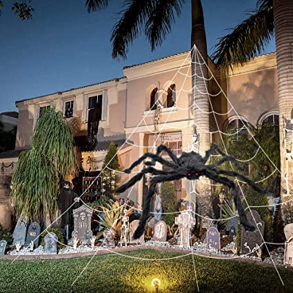 2 pack halloween spider decorations spider web halloween decor fake spider giant spider web for
