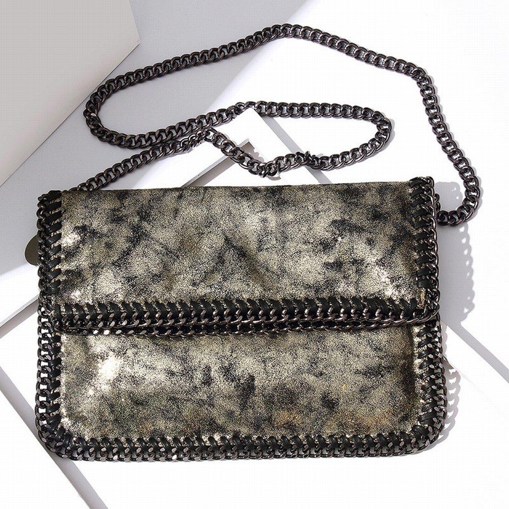 Weibliche Handtasche Schulter Diagonal Klappkette Tasche Handtasche , schwarzes Gold