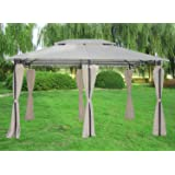 Greenbay 3x4M Deluxe Metal Pavilion Gazebo Awning Canopy Sun Shade Screen Shelter Garden Party Tent