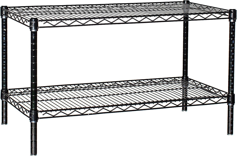 Amazon Com 18 Deep X 30 Wide X 14 High 2 Tier Black Starter Shelving Unit Furniture Decor
