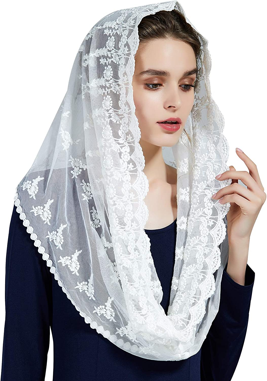 Mantilla De Encaje Española Mujer Capilla Velo Pañuelo de Iglesia Católica Bordado Chal Bufanda Negra Blanca V108