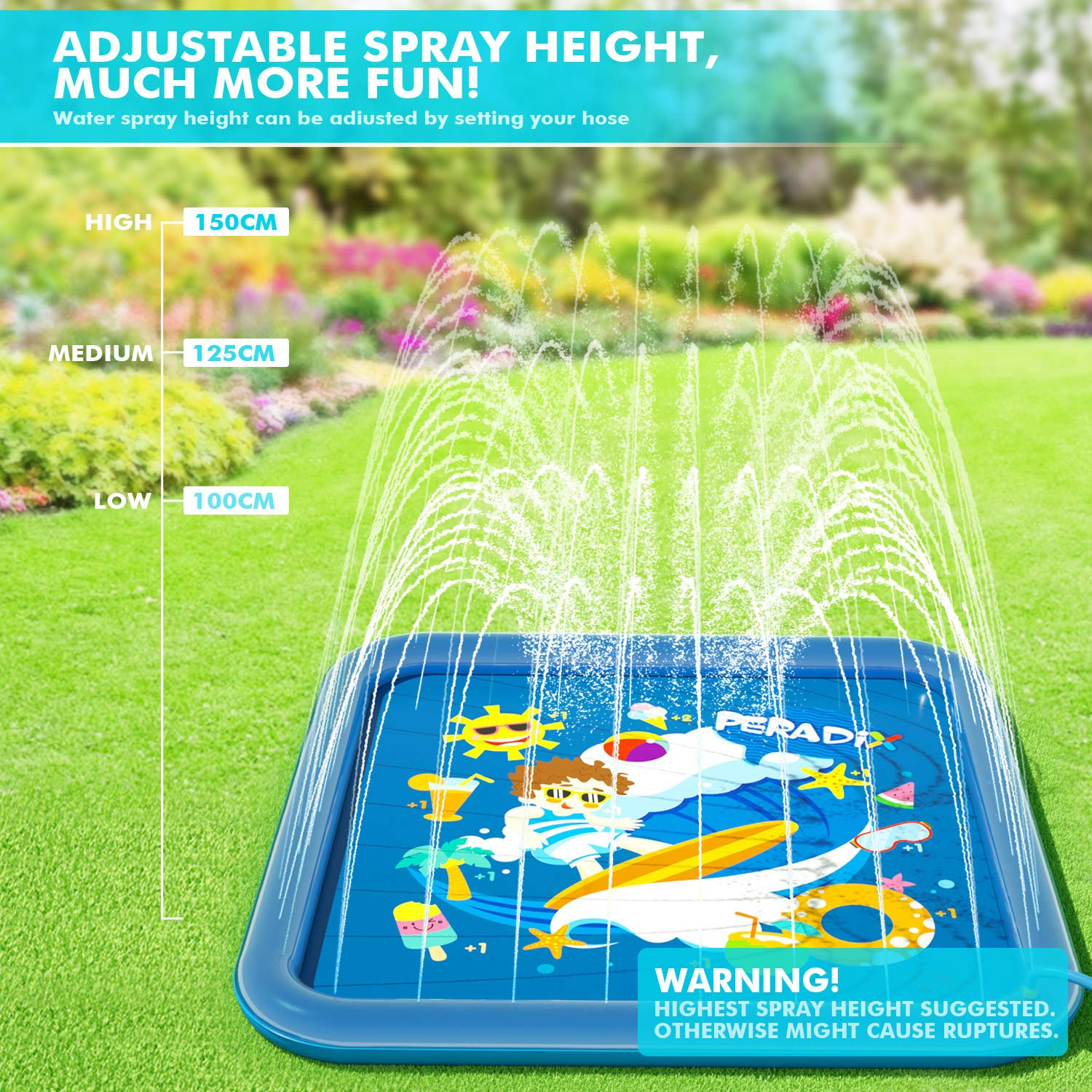 Peradix Sprinklers Pad - Water Splash Play Mat Summer Outdoor/Garden/Beach Water Spray/Sprinkle Mat Pool Toys Games For Kids/Children/Toddler Activities
