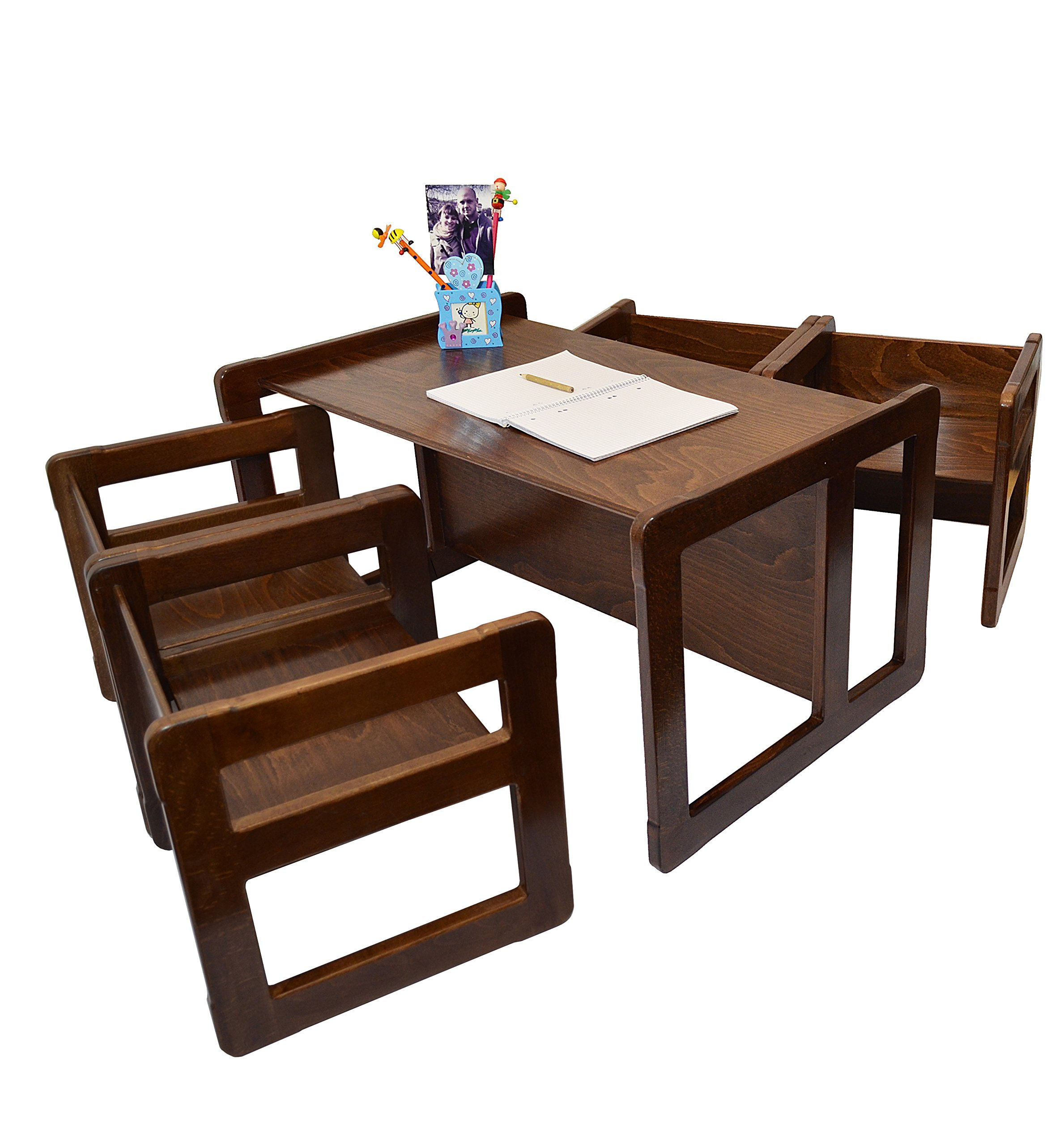 3 in 1 Childrens Multifunctional Furniture Set of 5, Four Small Chairs or Tables and One Large Bench or Table Beech Wood, Dark Stained